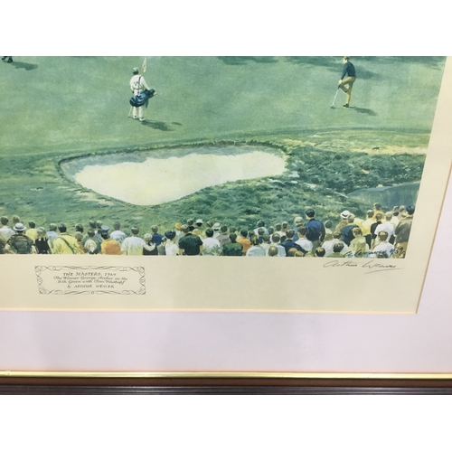 33 - Arthur Weaver signed colour print 'THE MASTERS 1969 - THE WINNER GEORGE ARCHER ON THE 16TH GREEN'...