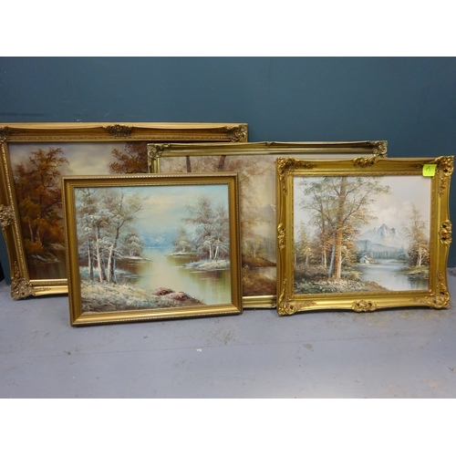 36 - (A) 4 Large paintings in guilt frames, one signed by L.Cafieri...