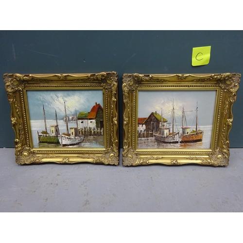 38 - (C) 2x Oil paintings - boatyard scenes, signed Travis...
