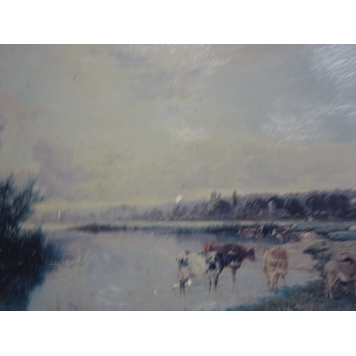 39 - (D) 2x Small paintings - landscape (cows in the field & canoe on lake)...