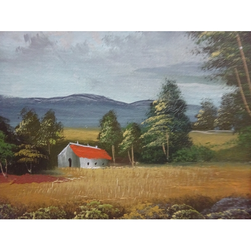 40 - (E) Oil on canvas, landscape (house and trees) signed Slate. One other painting with house and tree...