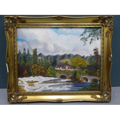 42 - (G) Oil painting by J.Daley & print of countryside scene...