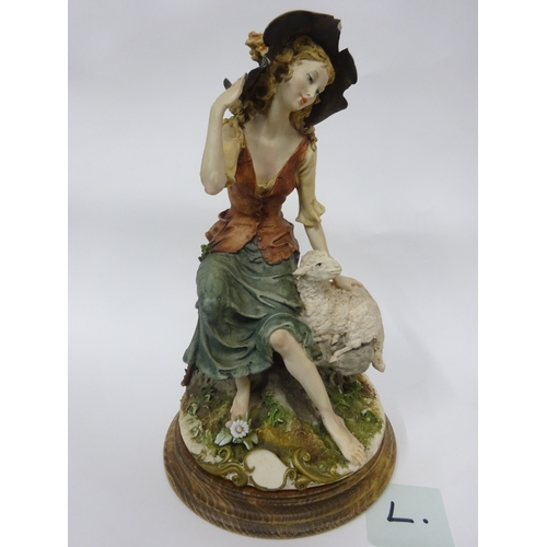 18 - Capodimonte - Shepherdess (chipped hat)...