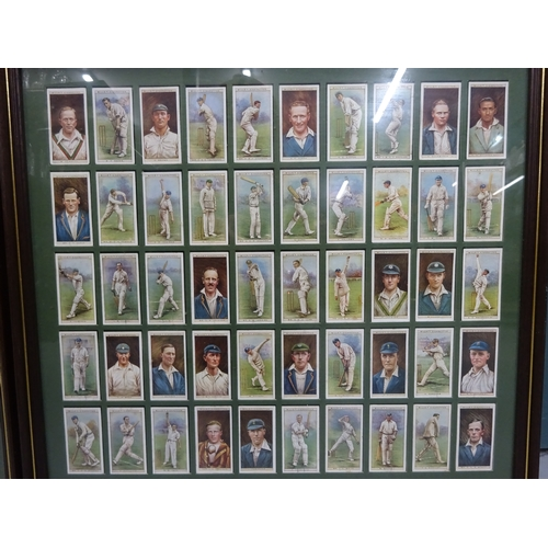 43 - Two framed collections of 1920/30's cricket cigarette cards...