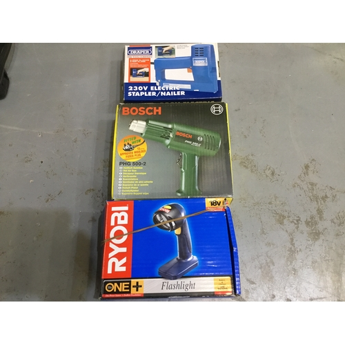 16 - Blow torch, electric stapler & Ryobi flashlight...
