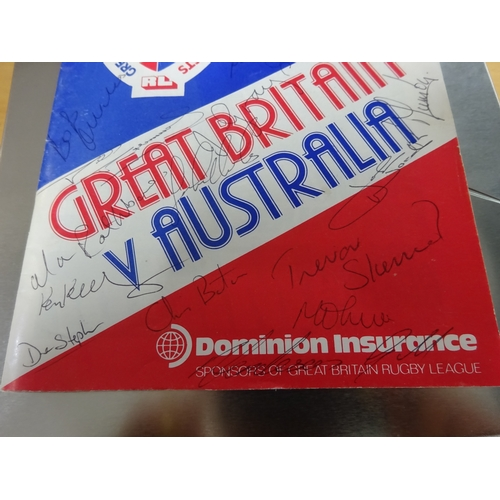 23 - Great Britain vs Australia 1982 rugby programme - signed by team members...