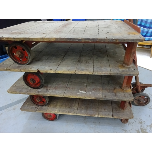 3 - Four Antique Railway Trolleys 'Tuglift' by Wilmot Trucks Dudley - Cast Iron & Wooden Slats...
