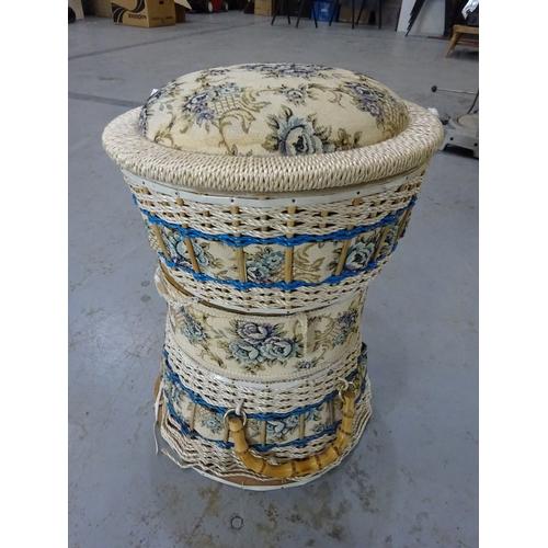 48 - Tapestry sewing basket/stool...
