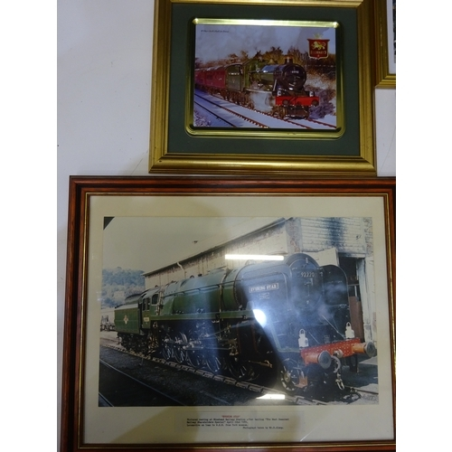 57 - Selection of framed steam engine pictures...