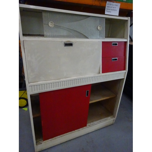 63 - Mid century kitchen unit cream & red...