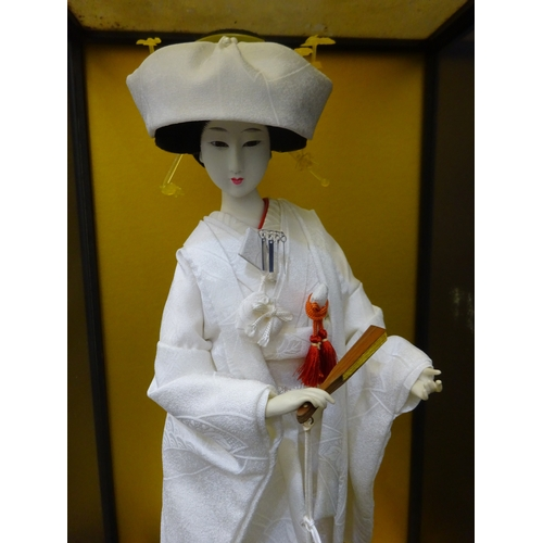 35 - Japanese Geisha Doll Figurine In Glass Cabinet...