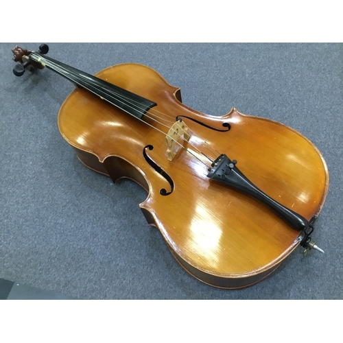 48 - 20th Century cello with two-piece flamed maple back and sides with deep carved spruce top...