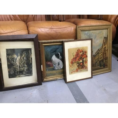 8 - 4 paintings - flowers/dog/2 street scenes...