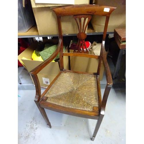 12 - Dark wood chair with rush seat...
