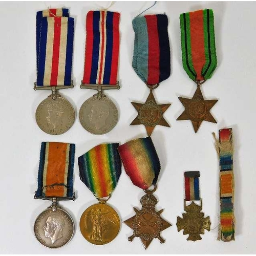 3 - A WW1 medal set awarded to 132244 SPR A. Knott R. E. twinned with an unappointed WW2 set from same f...