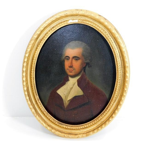 36 - In the style of George Stubbs, a gilt framed 18thC. oil on panel of gentleman Mr. Johnstone, image s...