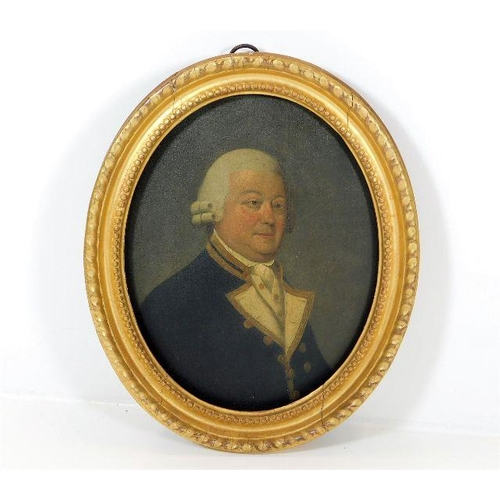 37 - In the style of George Stubbs, a gilt framed 18thC. oil on panel of Royal Naval seaman Captain Urry,...