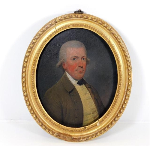 38 - In the style of George Stubbs, a gilt framed 18thC. oil on panel of banker James Martin, inscribed t...