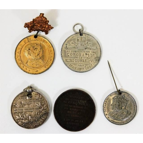 4 - A Victorian long service medal, unappointed a/f twinned with a 1792 French Revolution medal & three ...