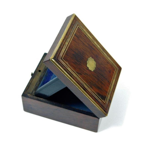 45 - A 19thC. brass inlaid rosewood watch case...