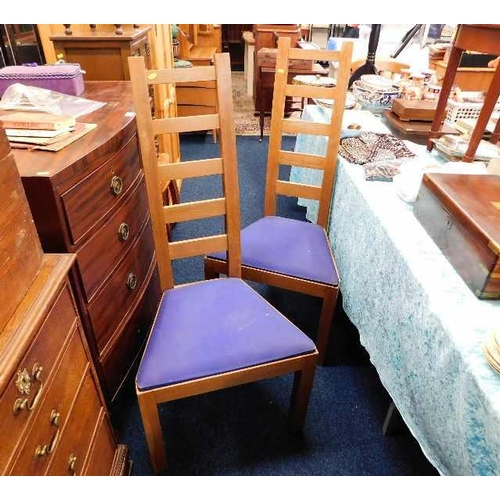 15 - A pair of oak Peter Blomfield Mackintosh style ladder back chairs...