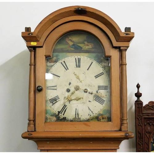 17 - A c.1800 pine cased longcase clock, Aberdeen maker 81in high...