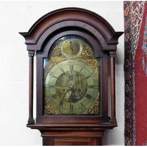 18 - A mahogany cased John Distin of Guernsey longcase clock 87in high...