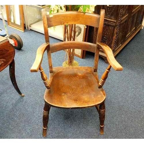 34 - A 19thC. beech & elm armchair...