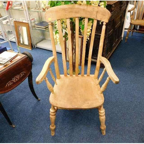 36 - A large 19thC. slat back beech & elm armchair...