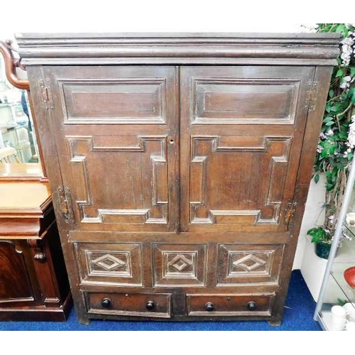 39 - A c.1650 English oak court cupboard with drawers under 72in high x 56.5in wide x 21.5in deep...
