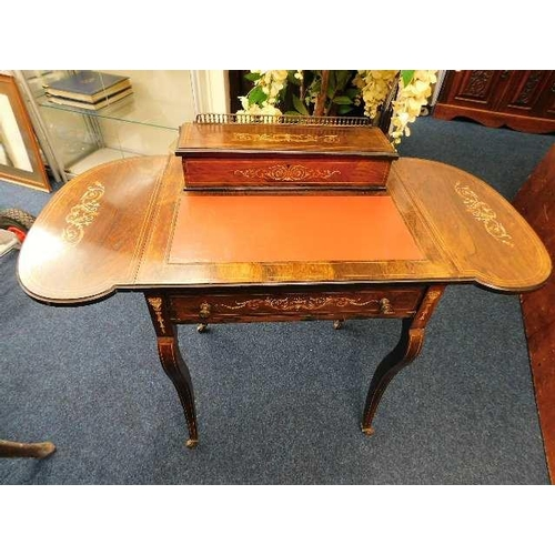 42 - An elegant mid Victorian ladies writing desk with inlaid decor & gilt gallery...
