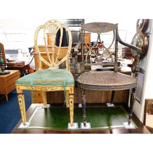 47 - Two 19thC. decorated chairs, some faults...