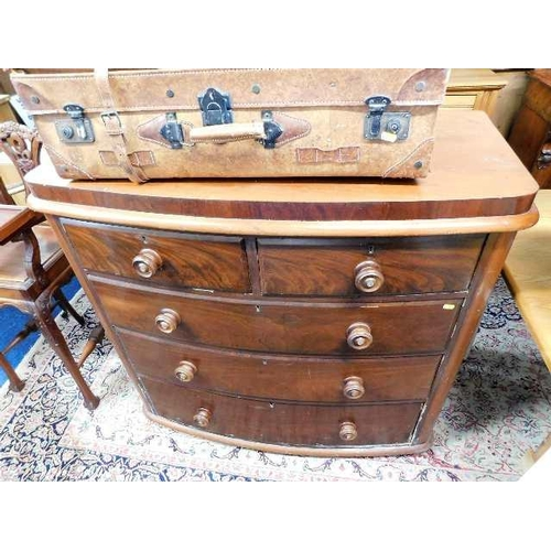 53 - A Victorian bow front chest of drawers...