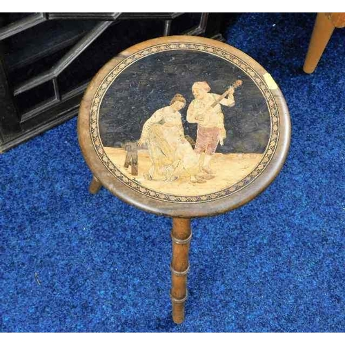 57 - A Victorian walnut tunbridge ware style inlaid stool 16.5in high x 10.5in wide...