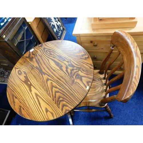 58 - A Peter Blomfield ash pedestal table & chair...