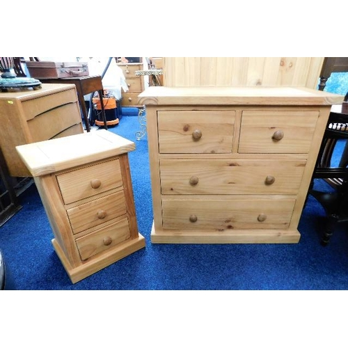 8 - A modern matching pine chest of drawers & bedside cabinet...