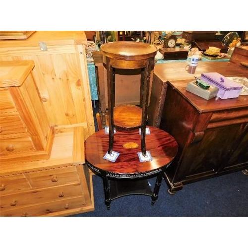 9 - A 19thC. mahogany table with fretwork decor & a mahogany plant stand...