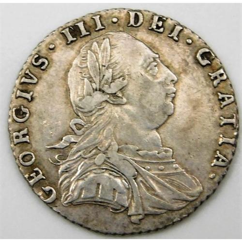 55 - A George III 1787 sixpence 20.5mm...