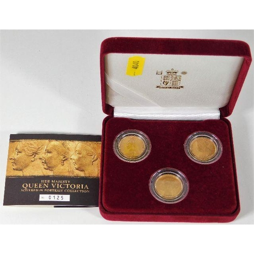 2 - A Royal Mint boxed set of three Victorian full gold sovereigns with young 1884, jubilee 1889 & old h...