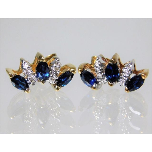 50 - An 18ct gold earrings set with diamond & sapphire 2.6g...