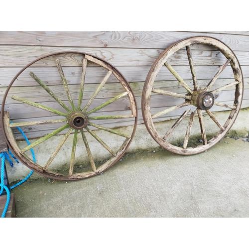 17 - Pair cart wheels...