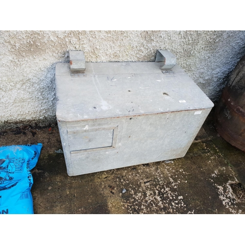 43 - Galv box with lid...