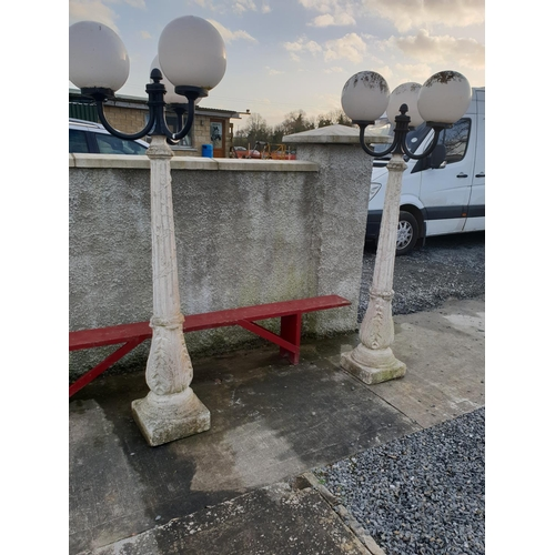 30 - Pair concrete lanterns with lights....