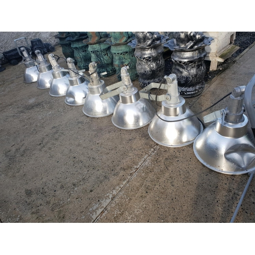 54 - 8 industrial new light shades with bulbs and glass...
