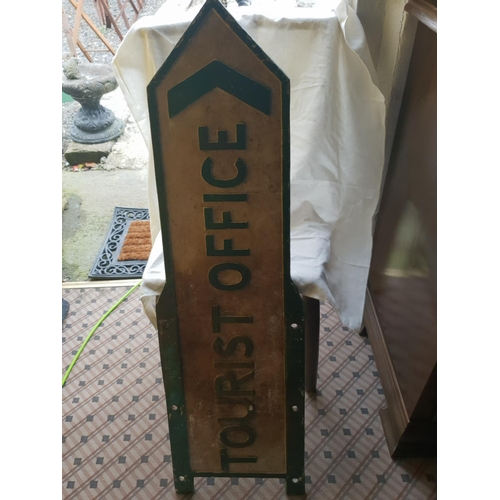 19 - double sided old cast tourist office sign...