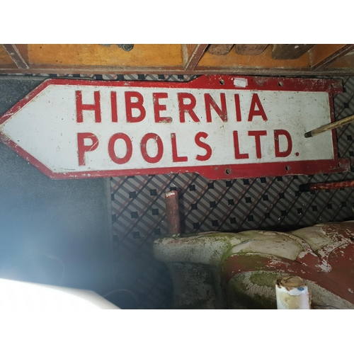 52 - hibernia old doubled sided finger bar sign...