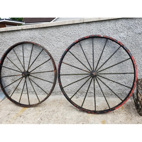 19 - Pair heavy cast wheels...