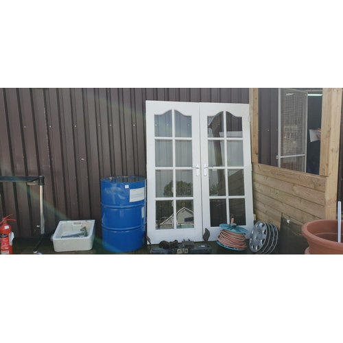 50 - pair French doors, handles and hinges...