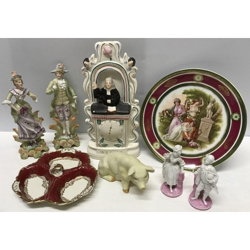 1 - Ceramics including Vienna plate, pair 19thC pink & white continental bisque pig figures, Alka Bavari...