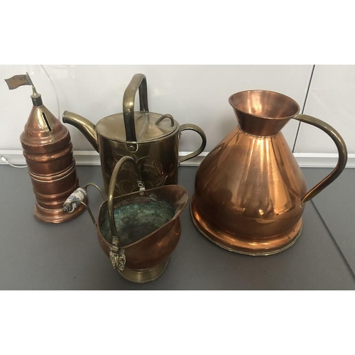 1062 - Four pieces miscellaneous brass and copper.